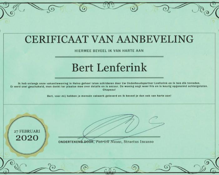 Aanbeveling Bert Lenferink